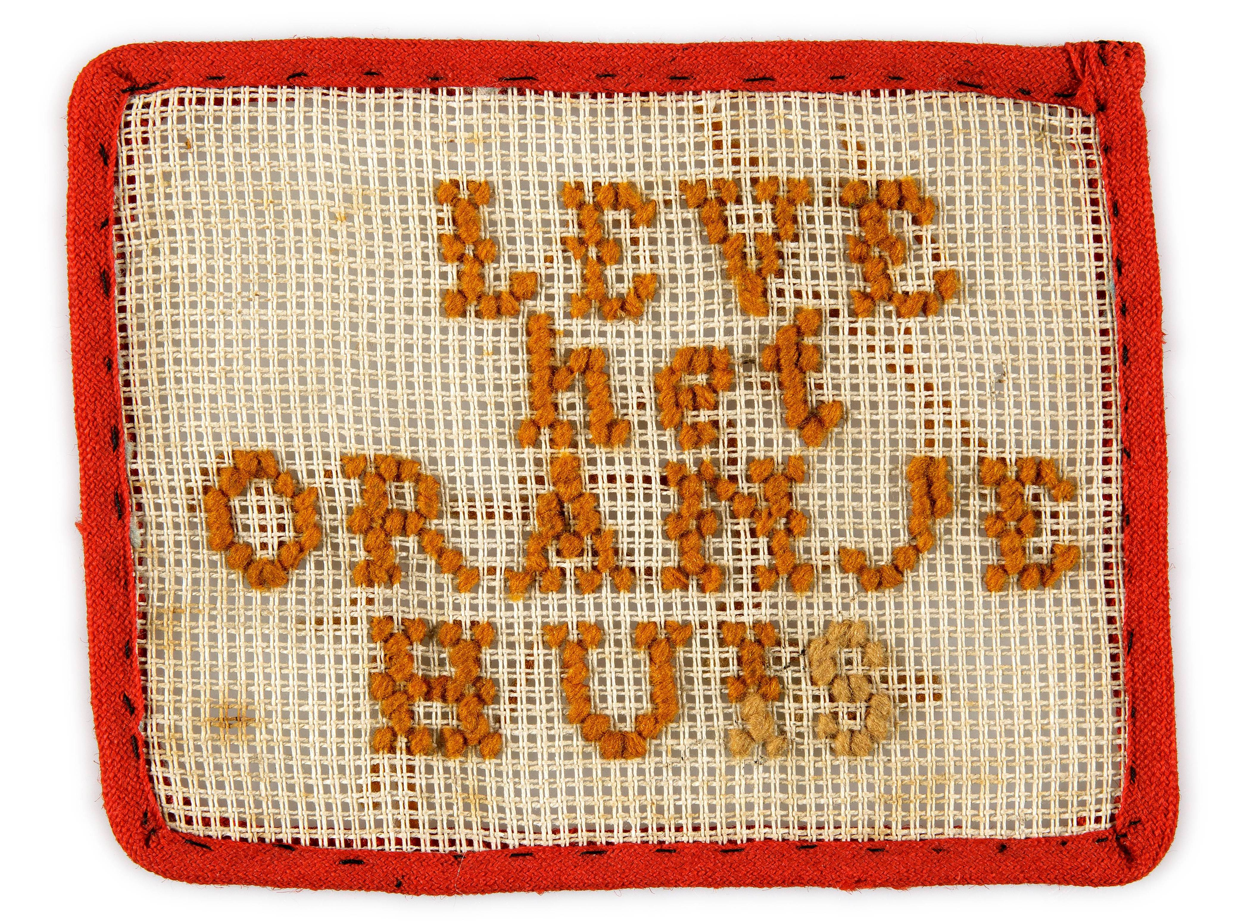borduurlap 'leve het oranjehuis'